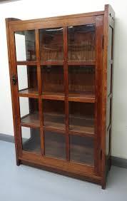 Stickley Bookcase Gustave Stickley Glazed Oak Cabinet Bookcase In Architect Designed