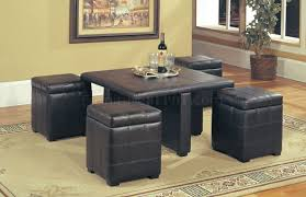 dark brown leather stylish coffee table w 4 storage ottomans