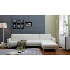 White Leather Sofa Beds The Hom Marsden 2 Piece White Tufted Bi Cast Leather Sectional