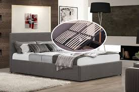 Grey Ottoman Bed Side Lift Ottoman Bed 2 Sizes