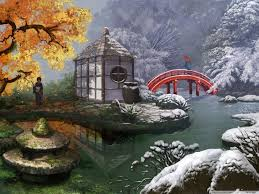 paintings of japanese gardens
