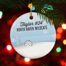 volleyball porcelain ornament in snow chalktalksports