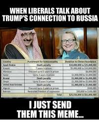 Donation Meme - when liberalstalkabout trump sconnection to russia punishment for