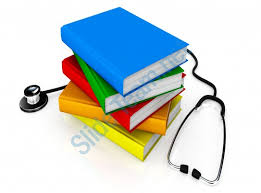 multicolored books with stethoscope medical education stock photo