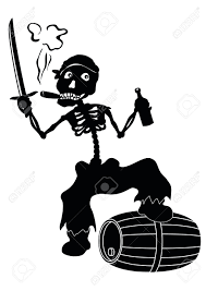 cartoon white wine cartoon evil zombie pirate jolly roger skeleton with a sword