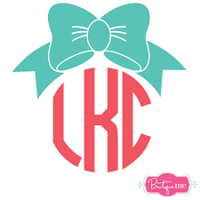 bow monogram vinyl sticker decal boutique me