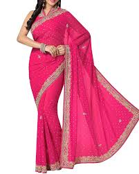 fuschia shop wedding trousseau faux georgette saree in purple and fuschia