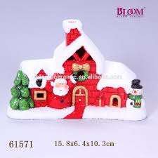 hand crafts ceramic christmas house ornaments with led lights