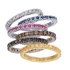 stacked birthstone rings ruby eternity band stackable ring 14k white gold 0 50ct allurez