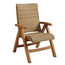 Teak Wood Grosfillex Ct357008 Java Wicker Resin Folding Chair Teakwood