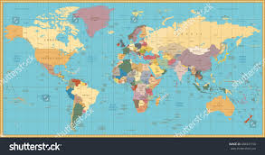 World Map With Countries Labeled by Retro Color Political World Map Elements Stock Vector 438941758