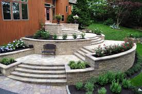 Garden Wall Systems by Front Door Elegant Platform Entrances Built With Travertine And