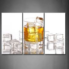 3 piece wall art painting brown whisky with ice cube print on