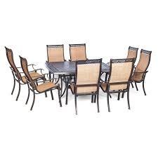 Large Square Folding Table by Hanover Outdoor Manor 9 Piece Outdoor Dining Set With Large Square