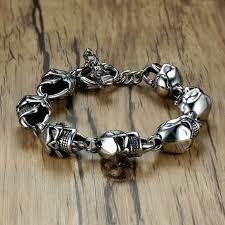 skull bangle bracelet images Men skull bracelets stainless steel skulls head chain bangle jpg