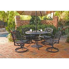 42 Inch Round Patio Table by Home Styles Biscayne 42 In Black 5 Piece Round Swivel Patio