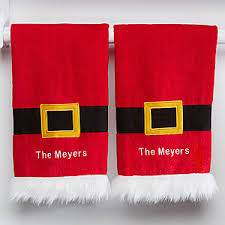 christmas towels personalized christmas kitchen towel set santa s belt