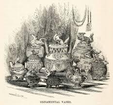 1859 wood engraving ornamental vase temple japanese edo period
