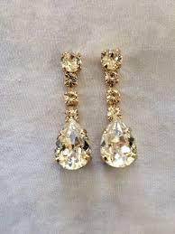drop earrings wedding swarovski silver dangle tear drop earrings the