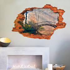 removable 3d broken wall stickers art vinyl mural home decor key