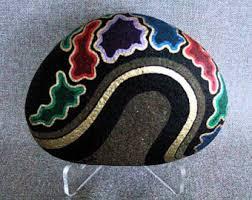 3d art object unique art painted rock original art signed home
