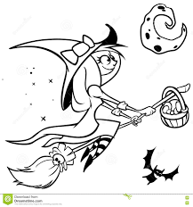 vector funny halloween witch flying on her broom black outline on