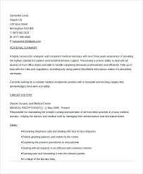 Sample Resume Of Secretary Sample Resume For Medical Secretary Medical Receptionist