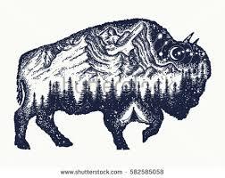 bison tattoo art buffalo bull travel symbol adventure tourism