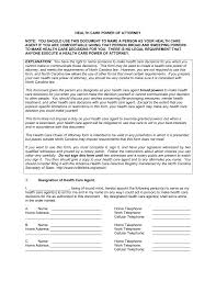 Blank Durable Power Of Attorney Form by Free North Carolina Health Care Power Of Attorney Form Word 791