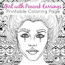 downloadable coloring page with peacock earrings