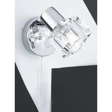 Bedroom Wall Reading Lights Uk Single Polished Chrome Wall Light With Clear Glass Cube Shade