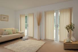 cream vinyl vertical blind for glass door with white stained