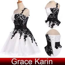 grace karin one shoulder black and white mini short cocktail