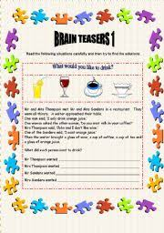 english teaching worksheets brain teasers