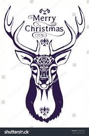 merry greeting card deer stock vector 339818486