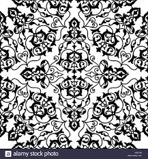 abstract flourish seamless pattern floral arabic geometric black
