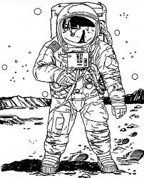 a realistic image of astronaut in the moon coloring page a
