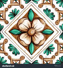ornaments on tiles watercolor spain italy stock illustration