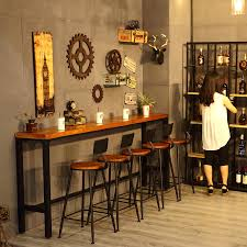 Wall Bar Table Solid Wood Bar Desk Table Iron Wall Counter Retro Pertaining To