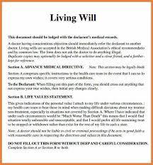 examples of living wills sop proposal