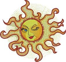 sun free machine embroidery design for quilt and decoration