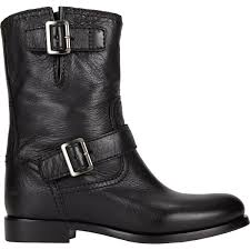 moto boots prada double buckle moto boots in black lyst
