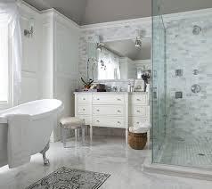 Mirrored Subway Tile Backsplash Bathroom Transitional With by Mirrored Vanity Stool Transitional Bathroom The Elegant Abode