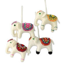 four fair trade white elephant ornaments set white elephants
