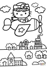 kitty flies over the city coloring page free printable coloring