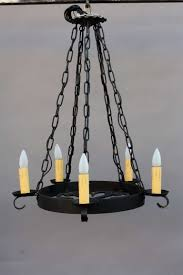 simple round wrought iron crystal chandelier with hanging black