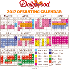 dollywood hours 2017 schedule and calendar