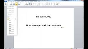 tutorial youtube word ms word 2010 a3 size document setup youtube