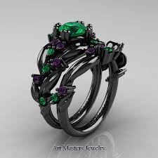 emerald amethyst rings images Nature classic 14k black gold 1 0 ct emerald amethyst leaf and jpg