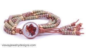 beaded butterfly bracelet images Beaded seed bead butterfly leather wrap boho bracelet via vay